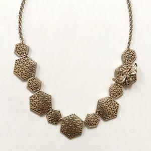Golden Honeycomb & Bee Statement Necklace